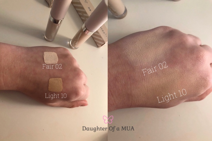 Colourpop No Filter Concealer Swatches Light 10 and Fair 02