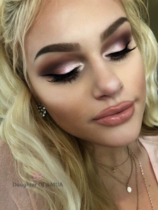 Pink Glittery Cut Crease Makeup